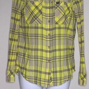 Hurley Tops - Hurley Yellow Gray Plaid Long Sleeve Top S A1 0010